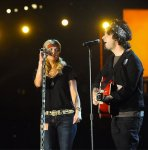 Miranda and Billie Joe Armstrong rehearse for The 56th GRAMMY Awards